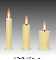 burning candles isolated
