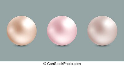 set of realistic pearls on gray background