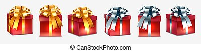 Set of realistic presents on white background