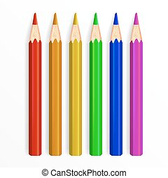 Set of Realistic Rainbow Colored Pencils Isolated on White Background