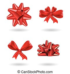 Set of realistic red gift bow vector, icons
