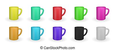 Set of Realistic red mug on a white background. 3D rendering. Vector Illustration