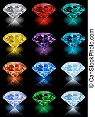 Set of realistic shining jewels on black