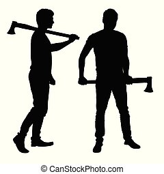 Set of realistic silhouettes of man - lumberjack with ax - vector
