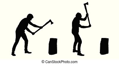 Set of realistic silhouettes of man - lumberjack with ax - vector, isolated