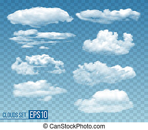 Set of realistic transparent cloudsin blue sky