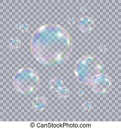 Set of realistic transparent colorful soap bubbles. - Set of...