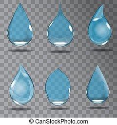 Set of realistic transparent drops in blue colors. Vector illustration