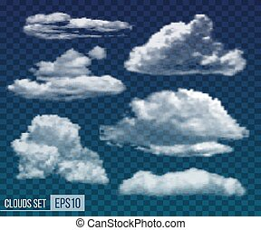 Set of realistic transparent night clouds. Vector