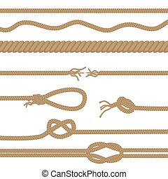 Set of realistic vector brown ropes and knots brushes isolated.