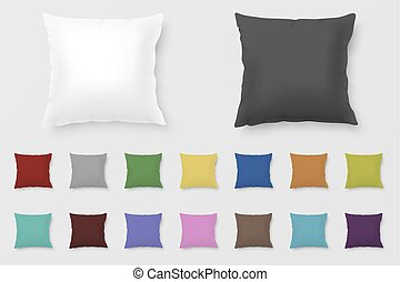 Set of realistic vector colored pillows