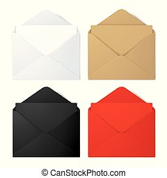 Set of realistic vector envelope mockups.