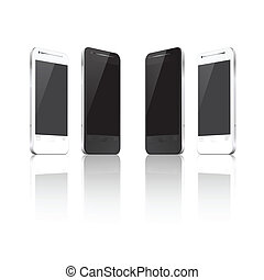 Set of realistic vector mobile phones