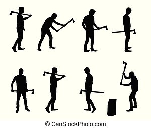 Set of realistic vector silhouettes of man with ax chopping wood