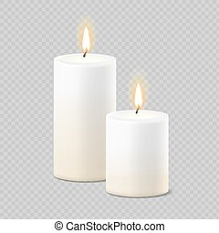 Set of realistic vector white candles with fire