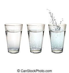 Set of realistic water glasses with different actions. ...