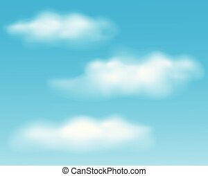 Set of realistic white clouds on blue sky