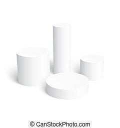 Set of realistic white cylinder isolated on white background