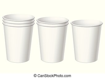 set of Realistic white disposable paper cups. For various...