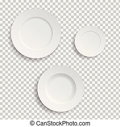 Set of realistic white plates on transparent background