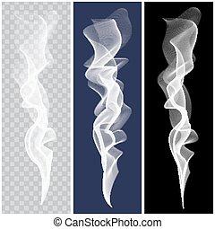 Set of realistic white smoke. Vector - Set of white smoke on...