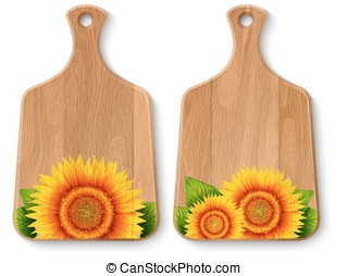 Set of realistic wooden cutting boards