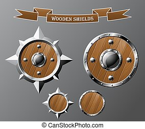 Set of realistic wooden shields