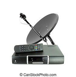 Set of receive box remote and dish antenna on white
