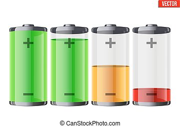 Set of rechargeable batteries with indication
