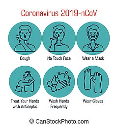 set of recommendations for covid 19 vector illustration ...