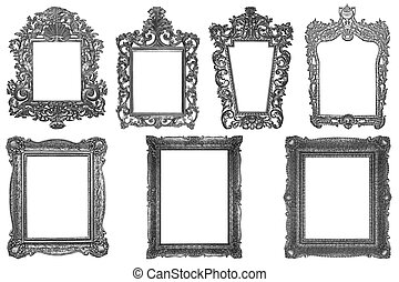 Set of rectangle Decorative vintage silver-plated wooden frame isolated on white background