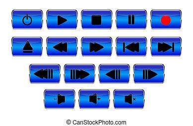 Set of rectangular blue media control buttons