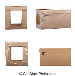 set of rectangular boxes made of brown cardboard isolated on a white background