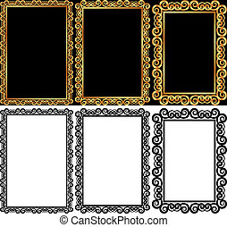 set of rectangular frames - isolated and gold