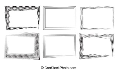Set of rectangular frames with strokes and engraving. Vector ele
