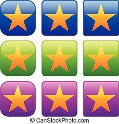 Set of rectangular star icons