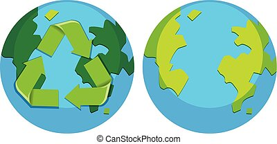 Set of recycle earth logo
