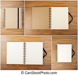 Set of Recycled paper notebook with black elastic band