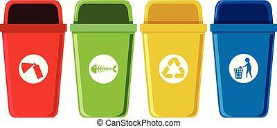 Set of recycling bins