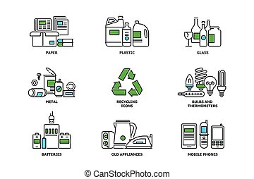Set of recycling icons in line design. Recycle vector flat...