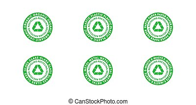 Set of recycling organic, plastic, paper, glass, metal and e-waste green cirlce badge with Mobius strip, band or loop. Design element for packaging design. Vector stock illustration.