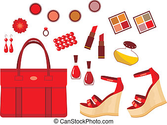 Set of red accessories - Vector illustration. It is created...