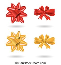 Set of red and gold gift bow, vector icons