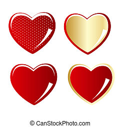 Set of red and gold heart vector illustration