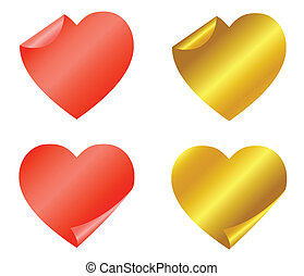 Set of red and gold stickers