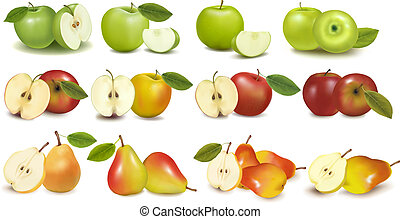 Set of red and green apple fruits with cut and green leaves....