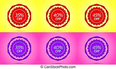 Set of Red and Purple Sale Badges