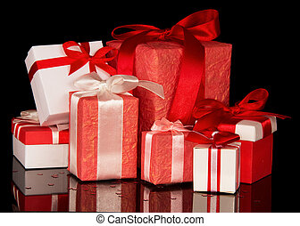 Set of red and white gift boxes