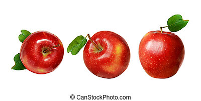 Set of red apples with green leaves