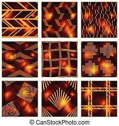 Set of red batik patterns
